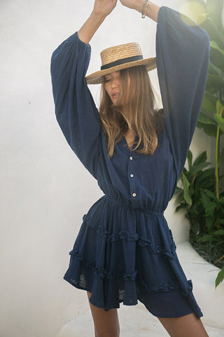 La Confection - Willow - Long Sleeve Navy Linen Dress
