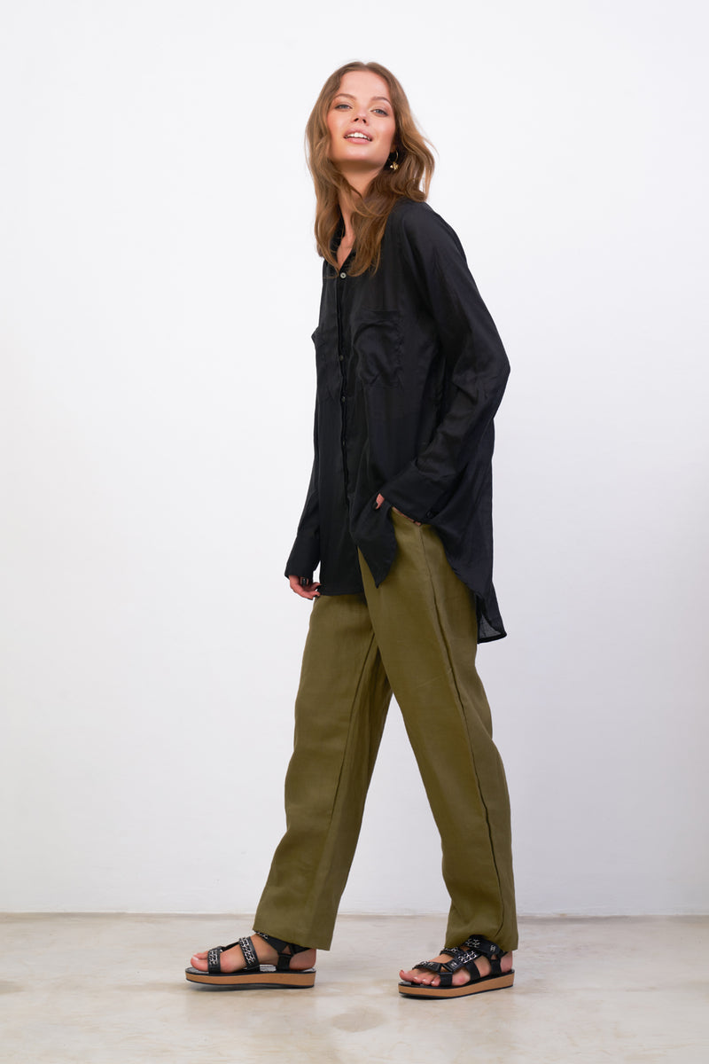 La Confection - Iva - Pant in Khaki Linen