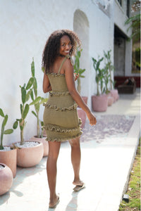 La Confection - Levant - Shirring Ruffle Mini Dress in Khaki