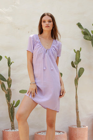 La Confection - Ostuni - Draw String Aline Dress in Lavender