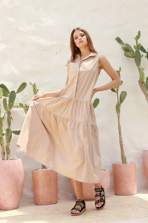 La Confection - Palermo - Cut Off Sleeve Parachute Dress with Collar in Cappuccino