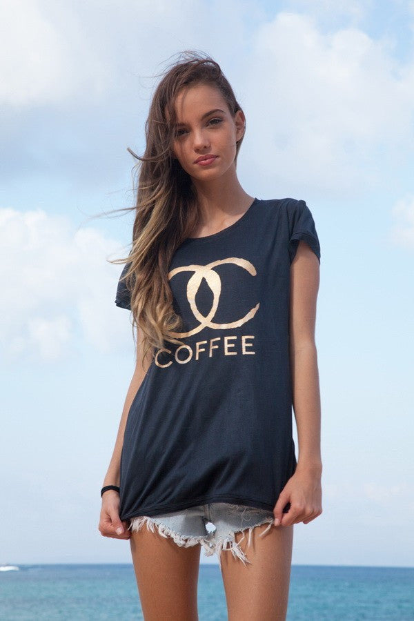 All Good Things - Coffee Print - T-shirt Top