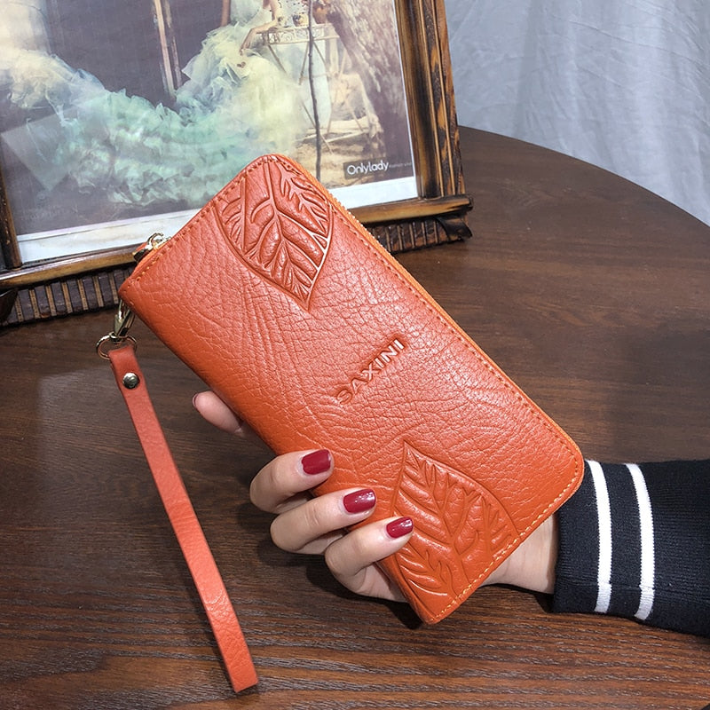 AOEO wallet women genuine leather for phone pocket coin holder wristlet calfskin wallets female Purse for girls Ladies Purses