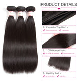 Brazilian Virgin Hair Straight 3 bundles w/ Closure 4pcs/lot 100% Straight Human Hair with Closure 8-28 inch Remy