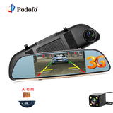 "Podofo 3G Wifi Car DVR 5"" Dual Lens Camera FHD 1080P Registrar Android 5.0 Video Recorder Rearview Mirror GPS Navigation Dashcam"
