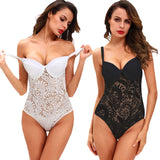 Women Lingerie Sleepwear Lace Bodysuit Black/White Semi-Sheer Mesh