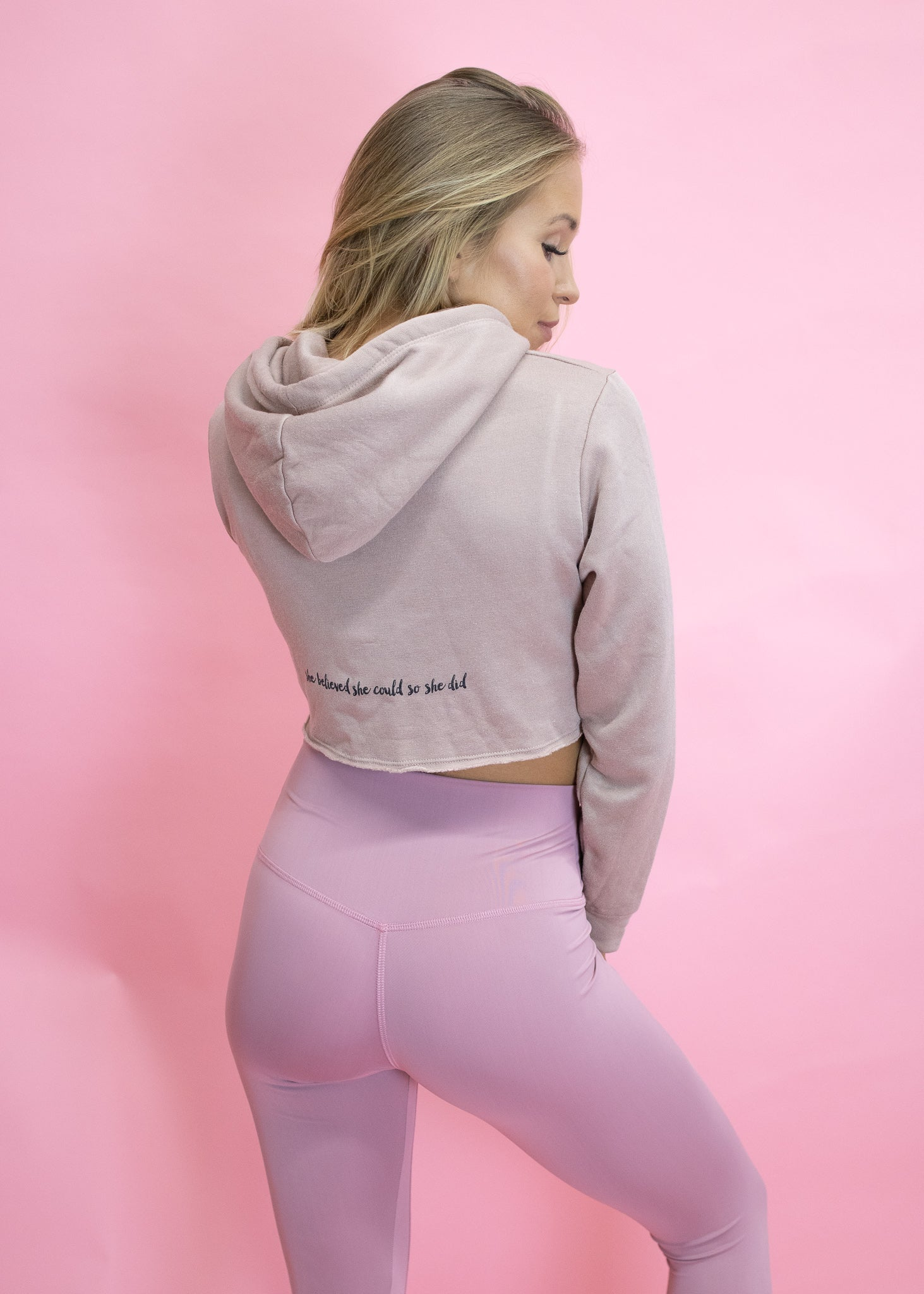 MAUVE CROPPED HOODIE SHE BELIEVED SHE COULD SO SHE DID