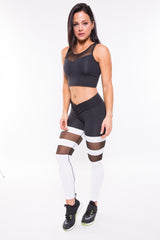 BLACK GODDESS V-FRONT MESH LEGGINGS