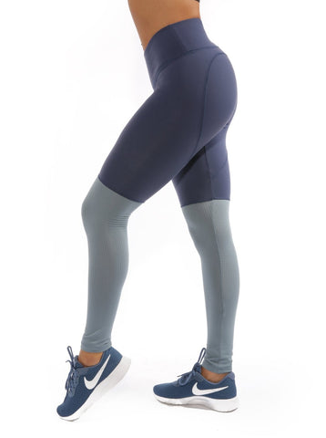 NAVY PLATINUM HEARTCORE TWO TONE LEGGINGS