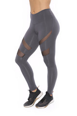 HEATHER GREY MESH LEGGINGS