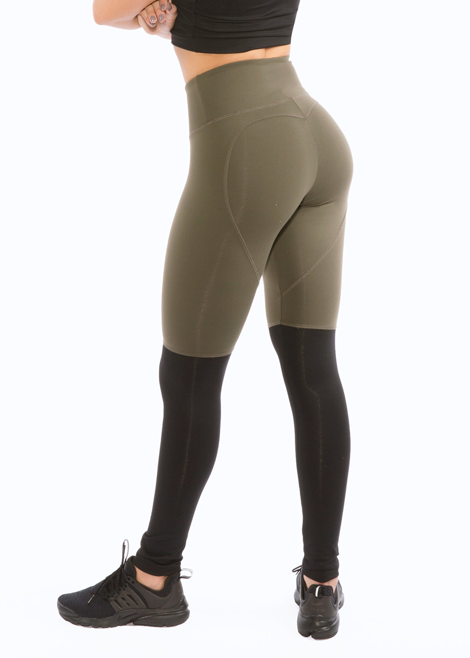 OLIVE BLACK TWO TONE HEARTCORE LEGGINGS