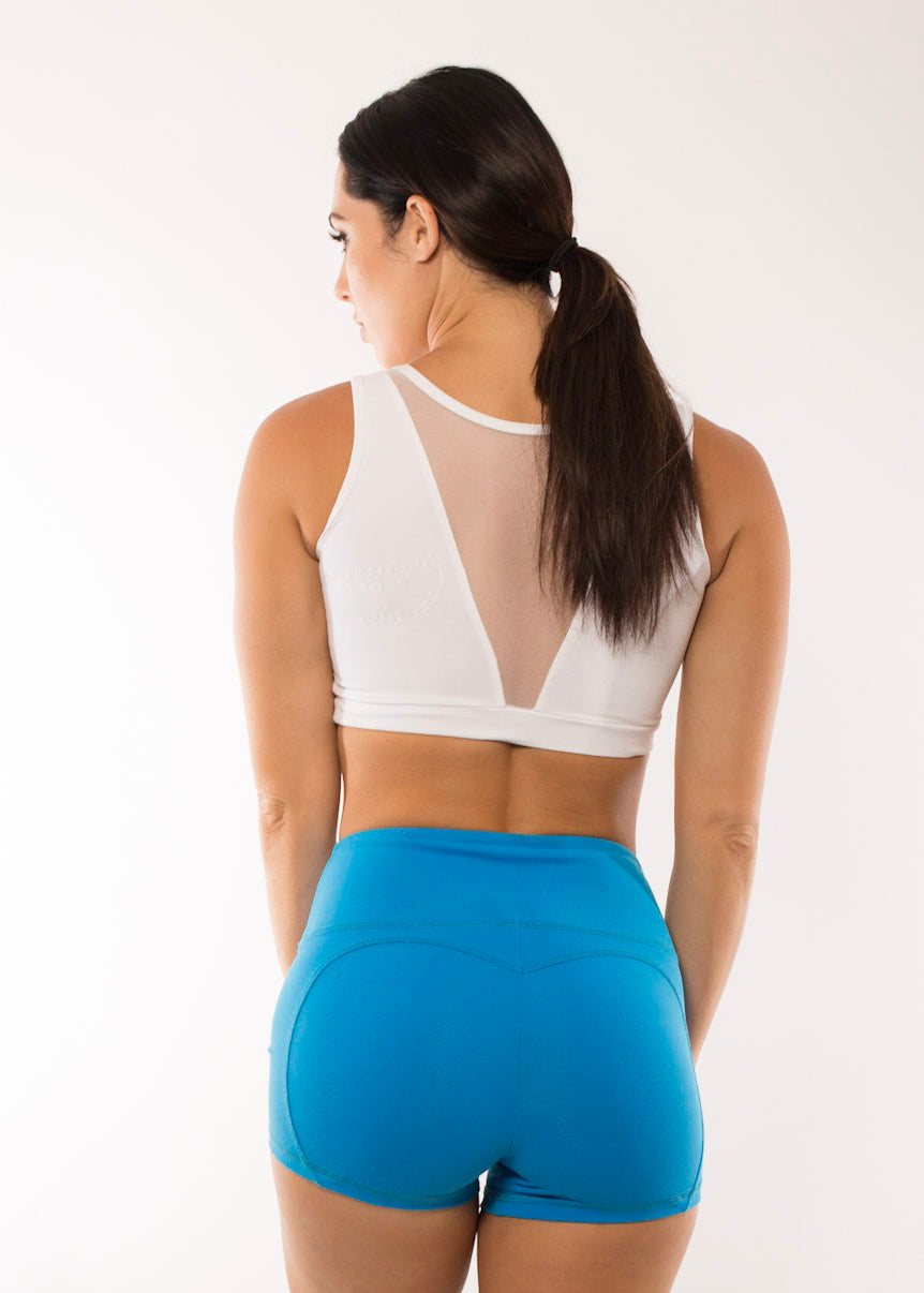 WHITE ZEN MESH CROP TOP