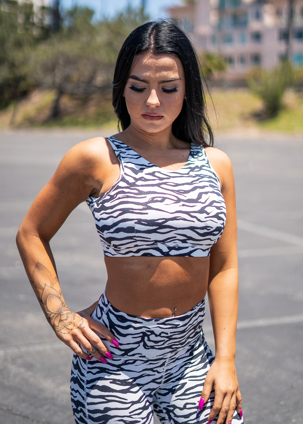Zebra Print Strap Back Sports Bra