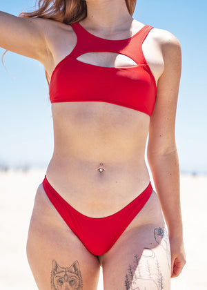 Gaia Red X-Front Bikini Set