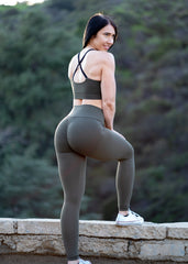 ARMY GREEN SCRUNCH BOOTY LIFT LEGGINGS