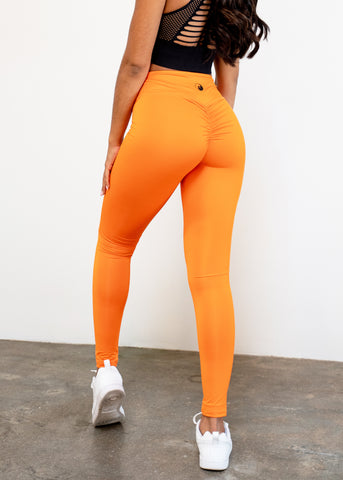 TANGERINE V-SCRUNCH BOOTY LEGGINGS