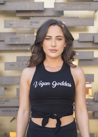 Vegan Goddess Black Crop Top