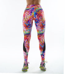 SALMON SHINE BRIGHT MESH PRINTED LEGGINGS
