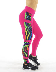 FUSCHIA ZEBRA HIGH WAIST LEGGINGS