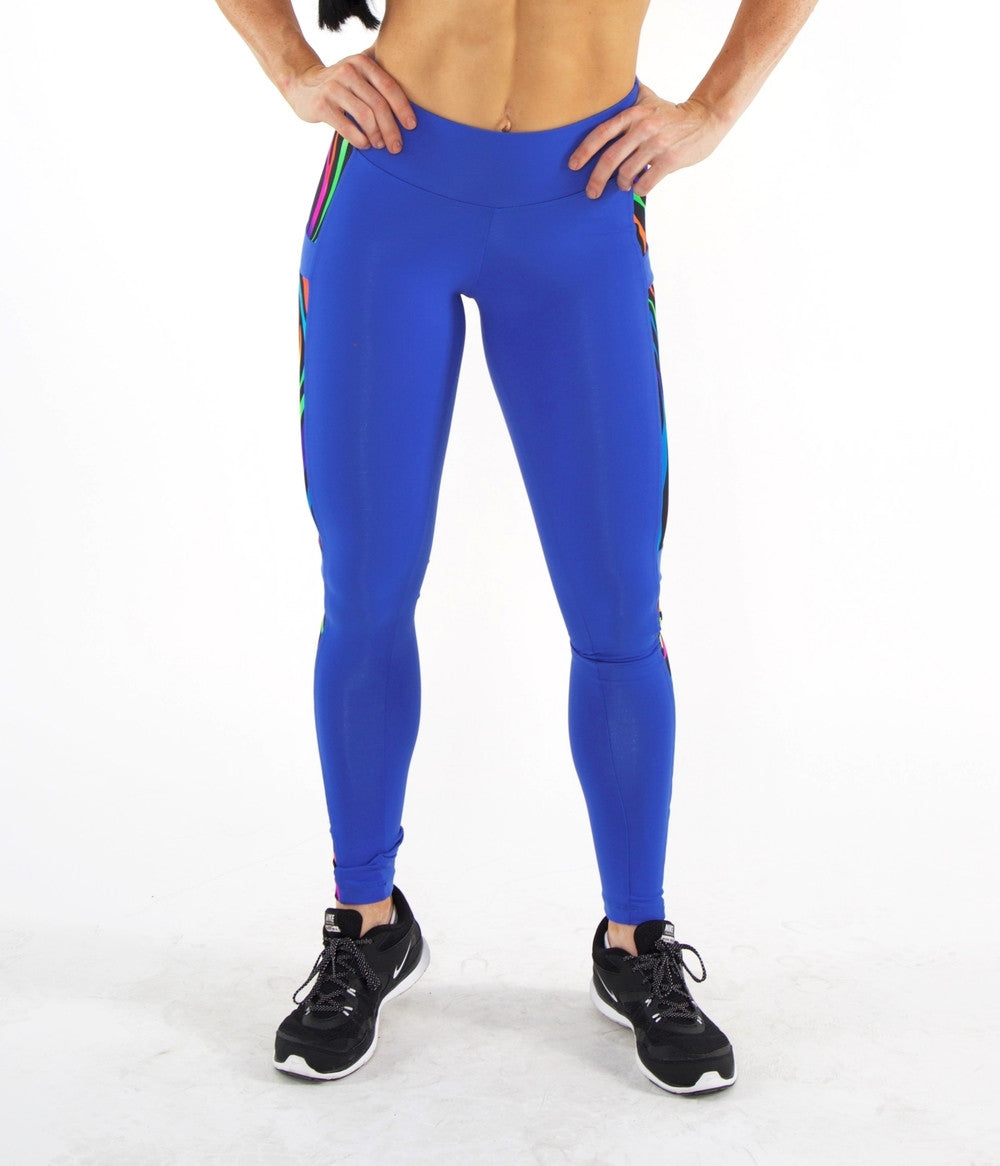 ROYAL BLUE ZEBRA HIGH WAIST LEGGINGS