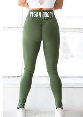 OLIVE SCRUNCH VEGAN BOOTY LEGGINGS
