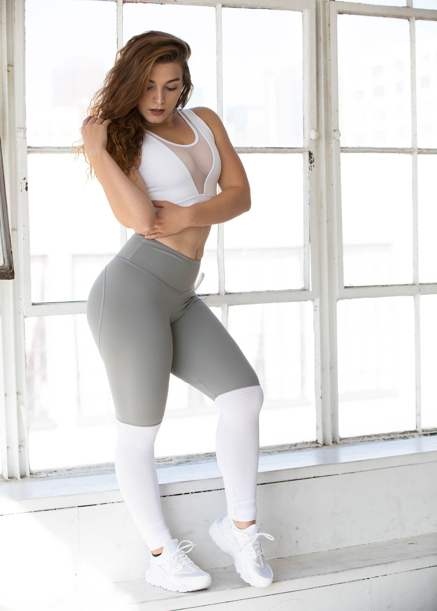 GREY TWO TONE HEARTCORE LEGGINGS