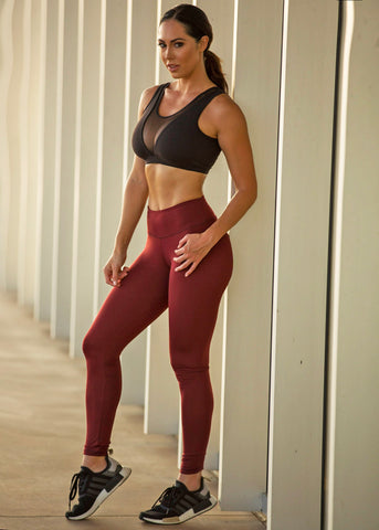 SIMPLICITY BURGUNDY HIGH WAIST LEGGINGS