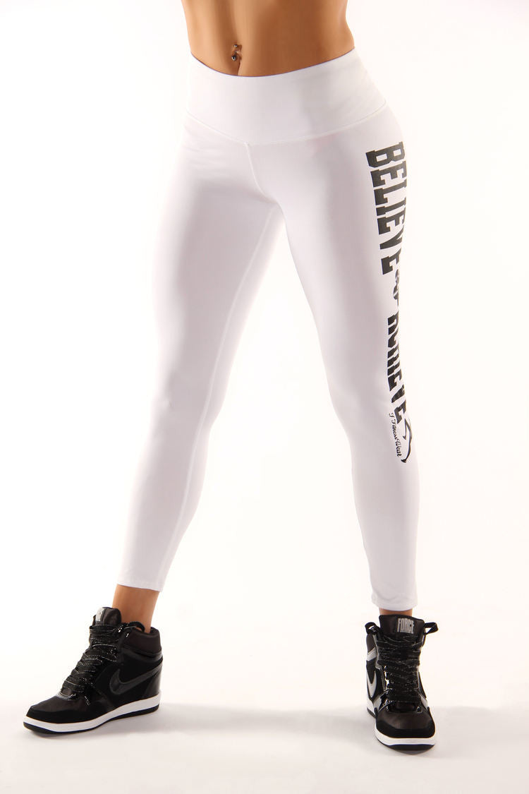 White Believe Achieve Leggings