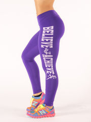 Purple Believe Achieve Leggings