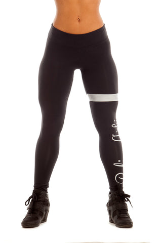 BLACK SILVER MOTIVATED PRINTED LEGGINGS