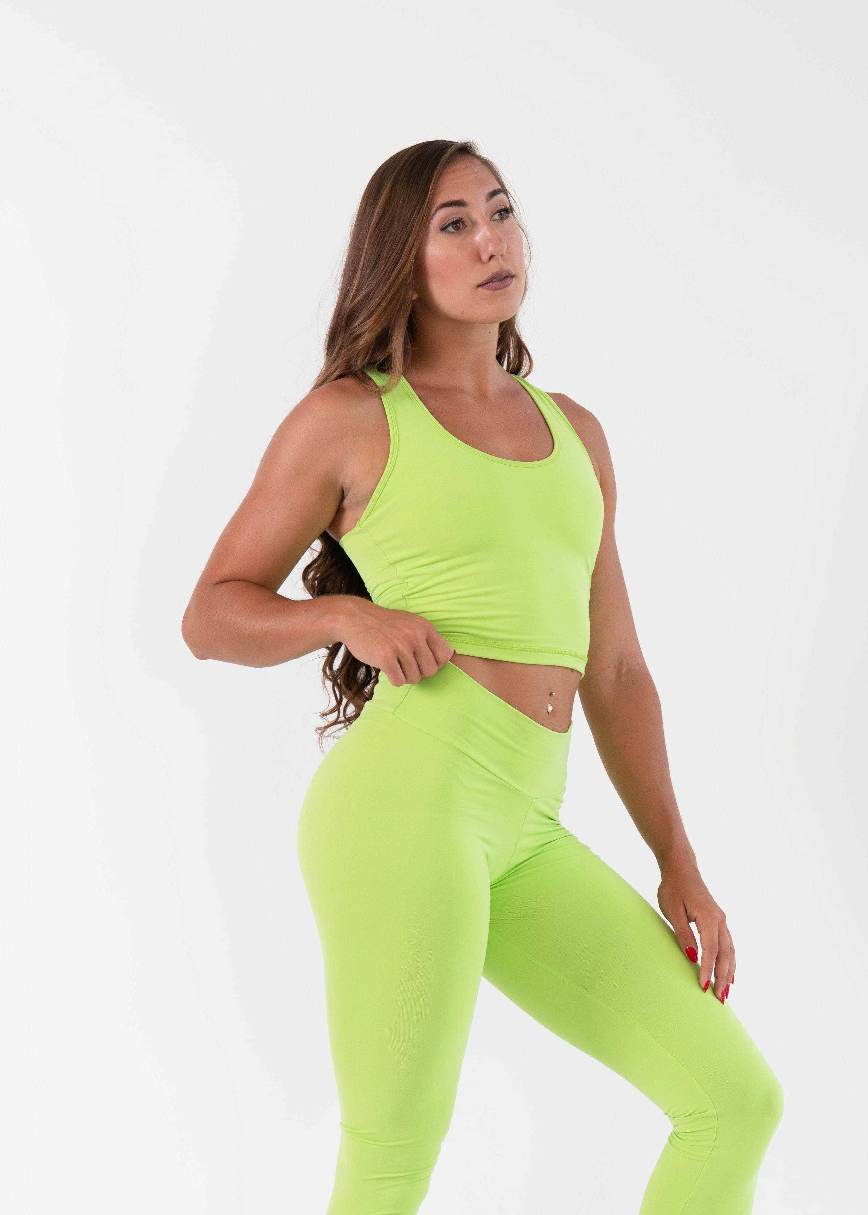 NEON GREEN TANK CROP TOP