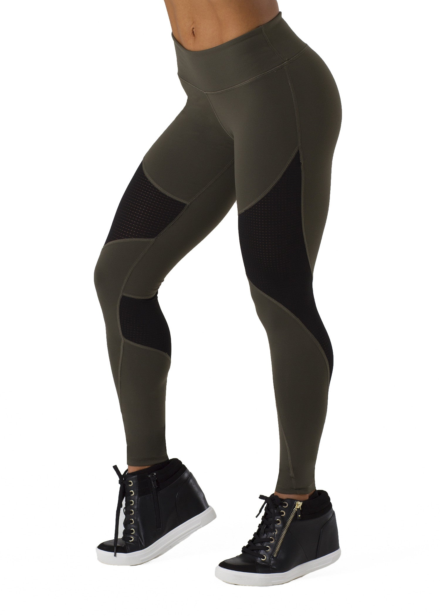 SOULY OLIVE ATHLETIC MESH LEGGINGS