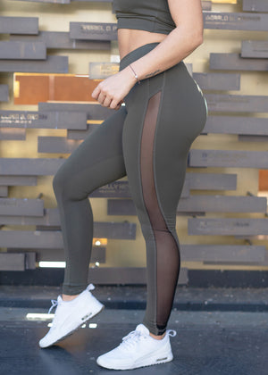 Plant Power Olive Mesh Leggings