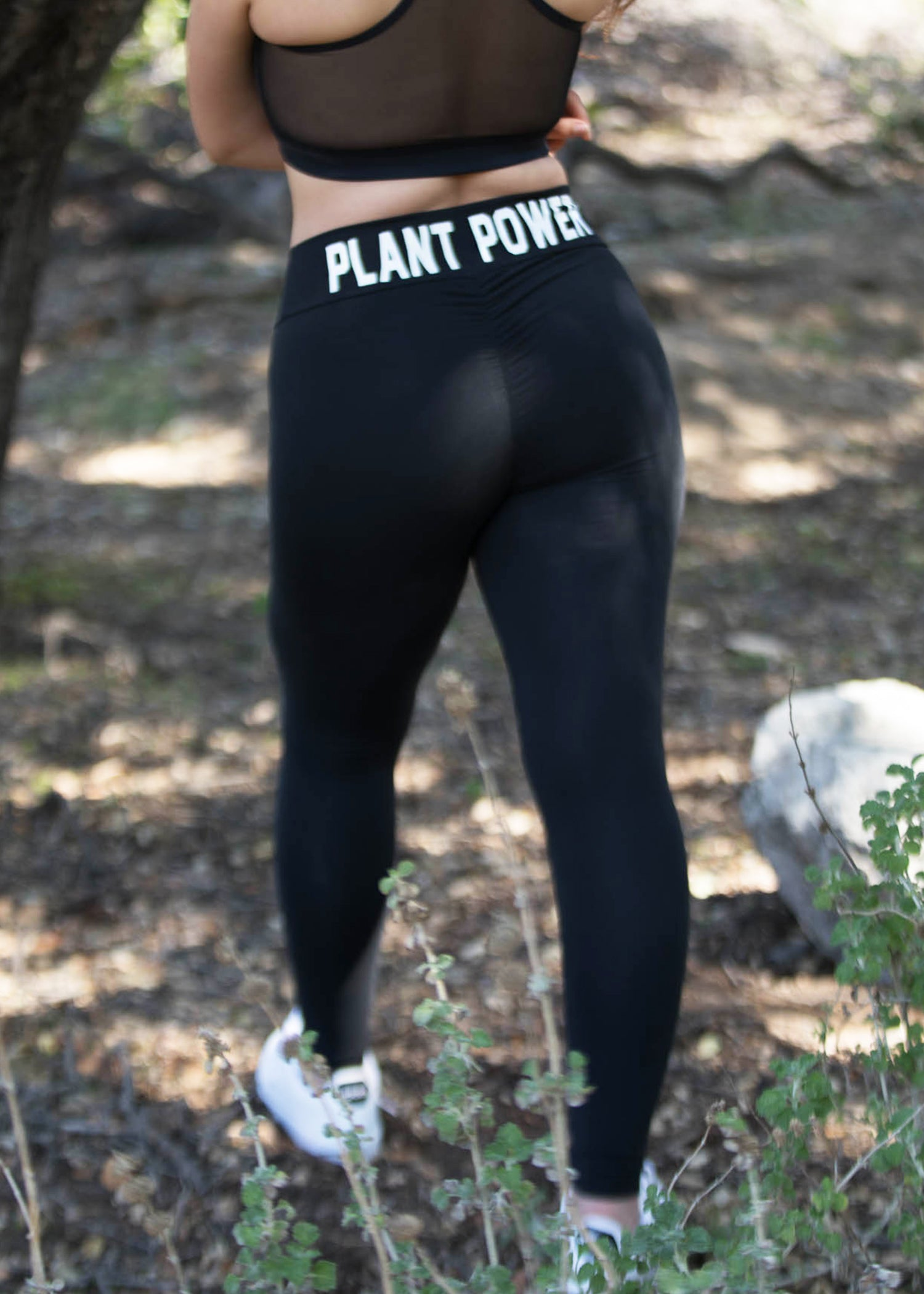 BLACK SCRUNCH PLANT POWER LEGGINGS