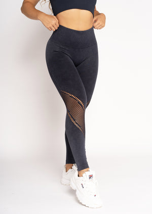 Energy Black Dye Wash Seamless Leggings