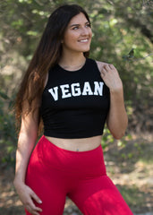 BLACK VEGAN CROP TOP