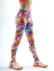 White Grafiti Printed Leggings