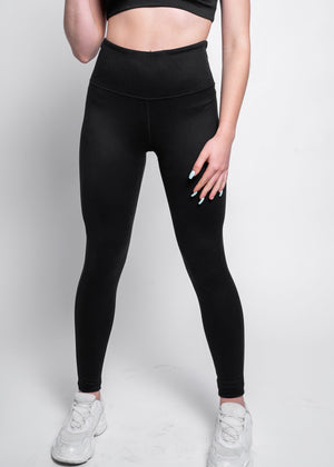 Solid High Waisted Black Achieve Leggings