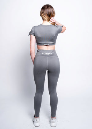 Solid High Waisted Grey Achieve Leggings