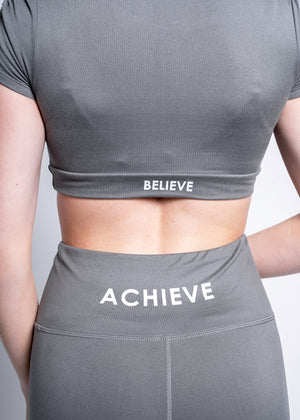 Shirred Crop Grey Believe Top