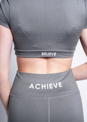 BELIEVE GREY SHIRRED SLEEVE CROP TOP