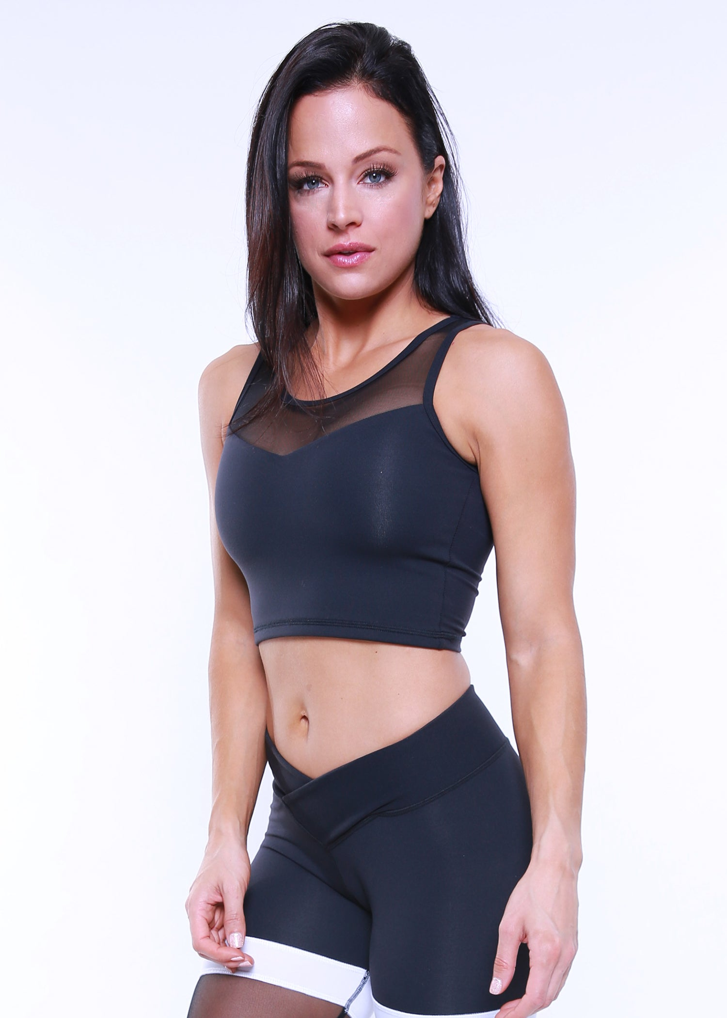BLACK STARDUST CROP TOP
