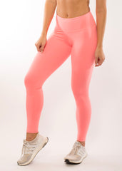 SIMPLICITY CORAL  HIGH WAIST LEGGINGS