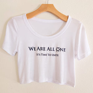 We Are All One White Crop Top