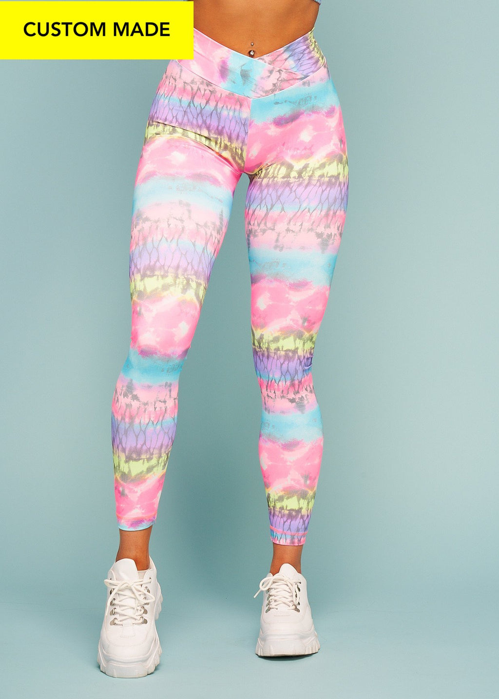 Cotton Rainbow V-Cut Scrunch Leggings