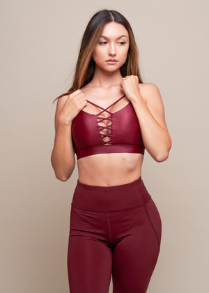Think Like a Queen Burgundy Criss-Cross Front Sports Bra