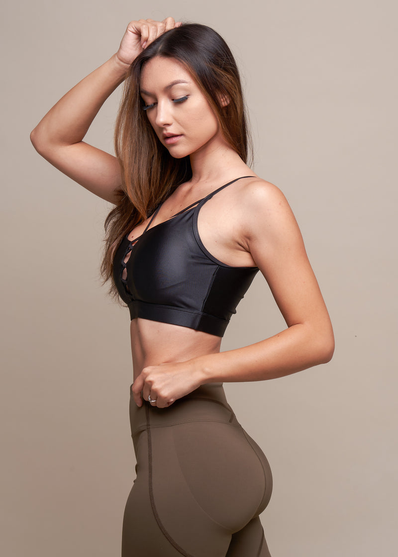 Think Like a Queen Black Criss-Cross Front Sports Bra