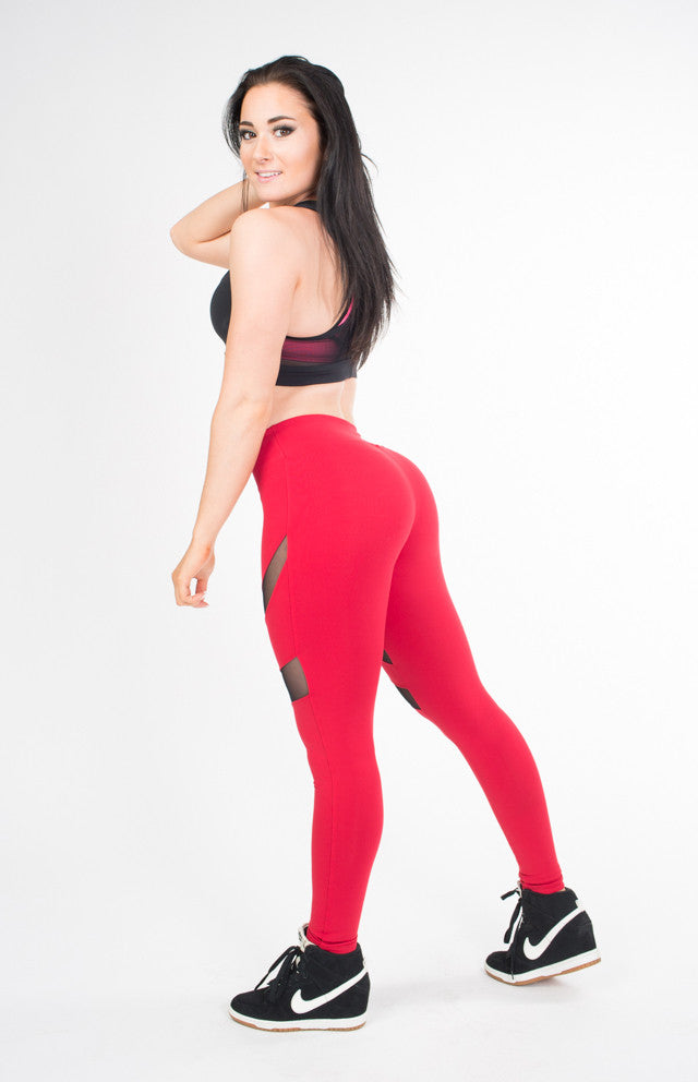 HEATHER RED LEGGINGS