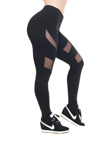 HEATHER BLACK MESH LEGGINGS