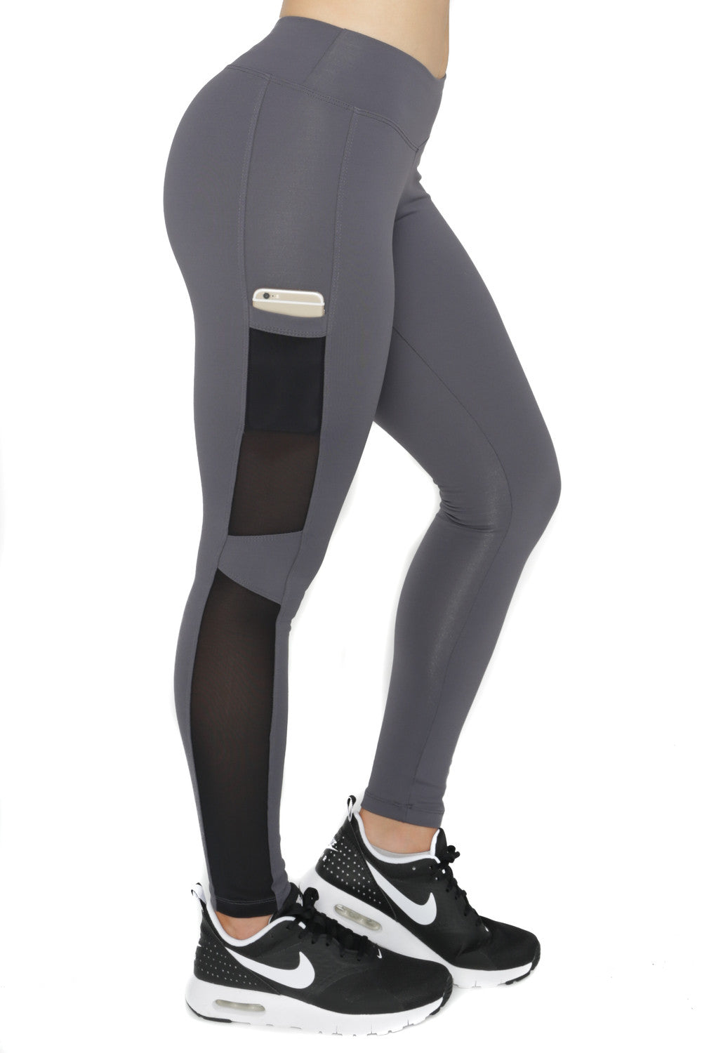 GREY HYPE SIDE POCKETS LEGGINGS